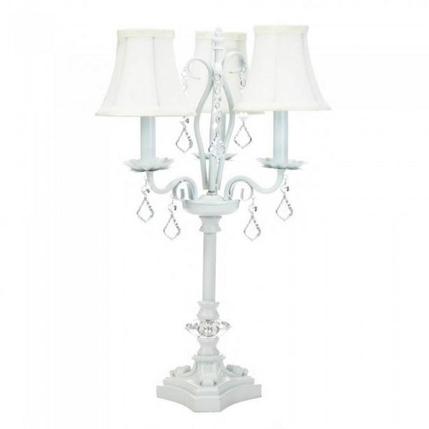 Chandelier Metal Table Lamp Crystal-Look Jewel Accents & 3 Small White Shades