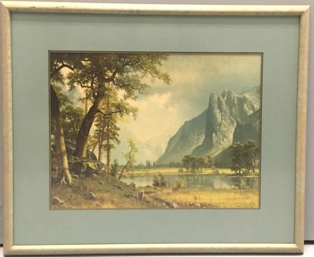 Landscape Print of Steep Mountains, Lake & Trees.  Matting & Glass