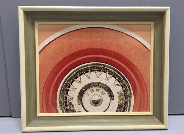 "Wheel ""Ford"" Print in Excellent Condition Wood Frame Sized 21"" x 24"""