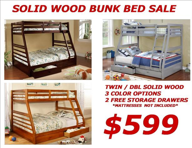 Twin Double Solid Wood Bunk Bed Sale 599 Free Storage Drawers