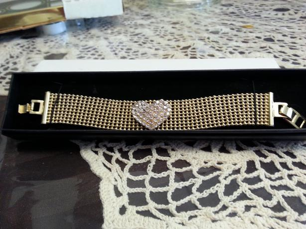 Gold Tone Mesh Bracelet with Crystals