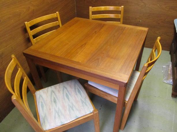 MID CENTURY TEAK DINING TABLE AND FOUR CHAIRS FROM ESTATE