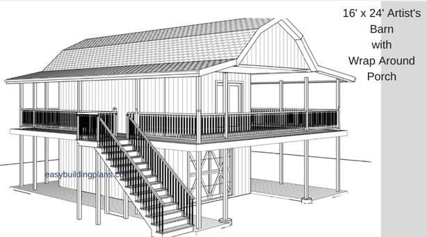 Barn Style Studio plans, download immediately, cad, drafting, design, blueprints