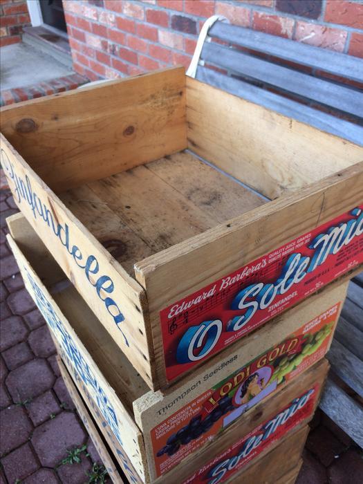 15 Folk Art Wooden Fruit Boxes For Sale