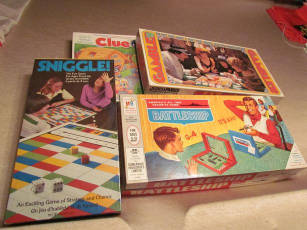 Assorted table top games. $3 to $10