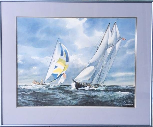 """Bluenose II """"The Lively Tradition"""" Print of a Watercolor by O.K. Schenk"""