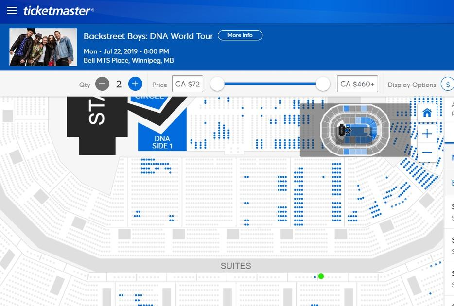 $1 · Pair of Backstreet Boys tickets - loge seating - face value