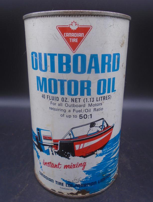 VINTAGE 1960's CANADIAN TIRE OUTBOARD MOTOR OIL QUART CAN