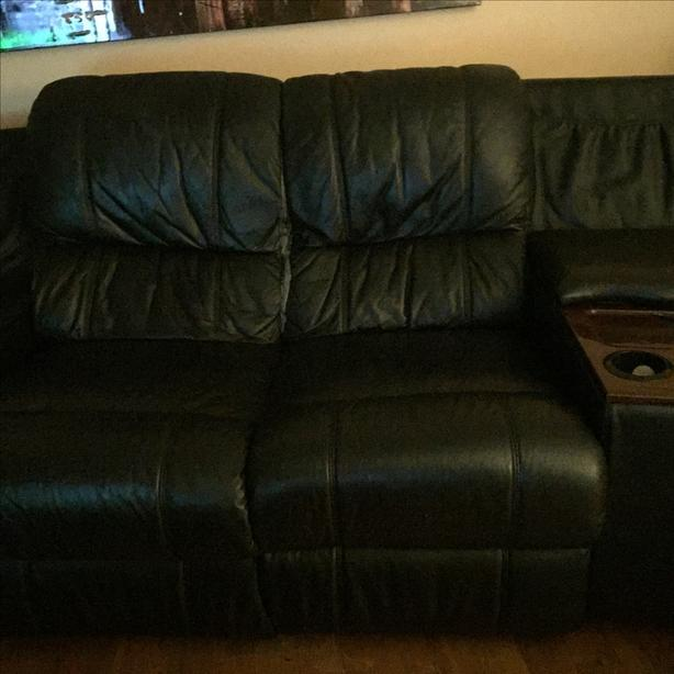 Strange Free Black Leather Theatre Style Couch W Recliners Central Machost Co Dining Chair Design Ideas Machostcouk