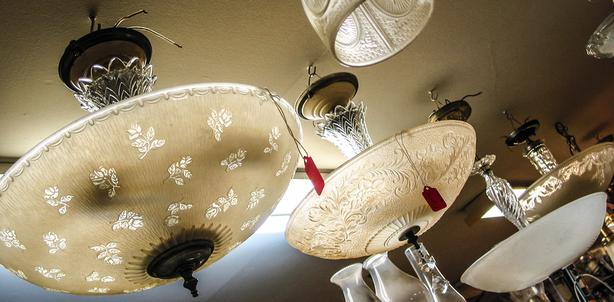 vintage 1930's centre-post light fixtures