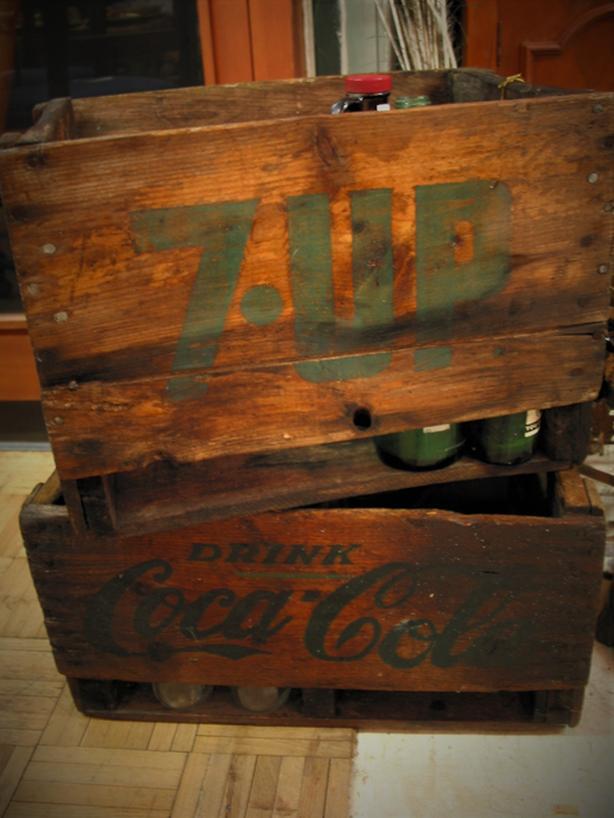 vintage pop crates, collectibles & other decor