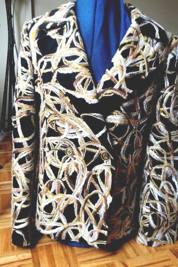 Bianca Nygard black textured brocade print cotton