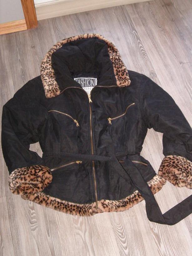 Black with Leopard print jacket ,med