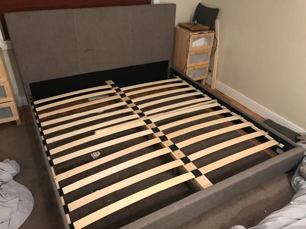 King Mattress And King Cloth Bed Frame Saanich Victoria