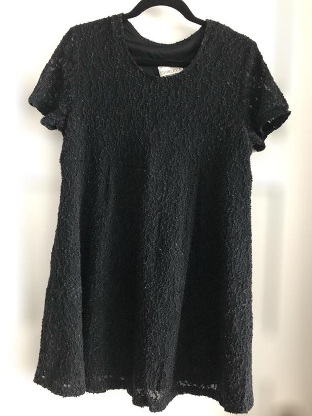 Black Lace Maternity Fashion Top, Size L