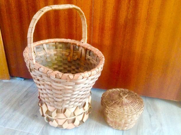 Three antique, native-made baskets