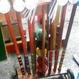Vintage croquet set w. wheeled wooden cart