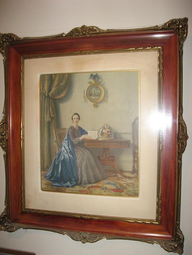"""Vintage elegant framed Edwardian lady 25"""" wide 28"""" High"""