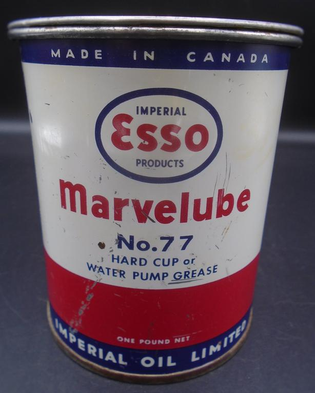 VINTAGE 1950's ESSO MARVELUBE NO. 77 GREASE (1 LB.) CAN