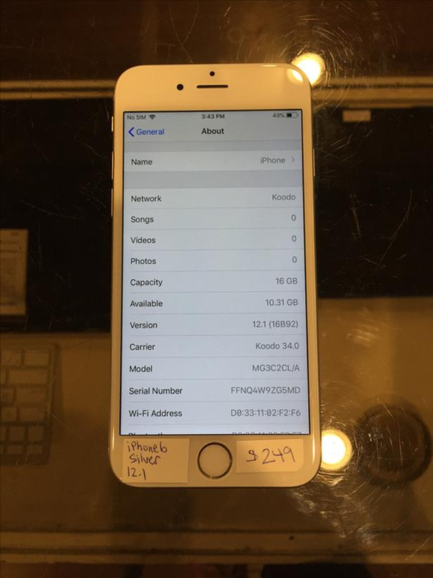 UNLOCKED iPhone 6 Silver 16 GB w/ Warranty