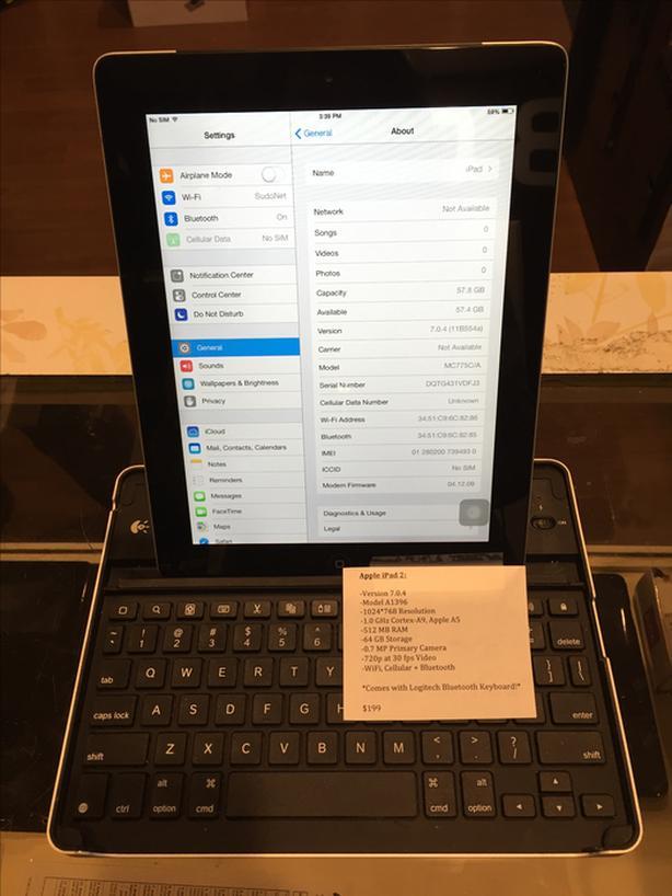 Apple iPad 2 w/ WiFi and Cellular 64 GB Tablet w/ Warranty!