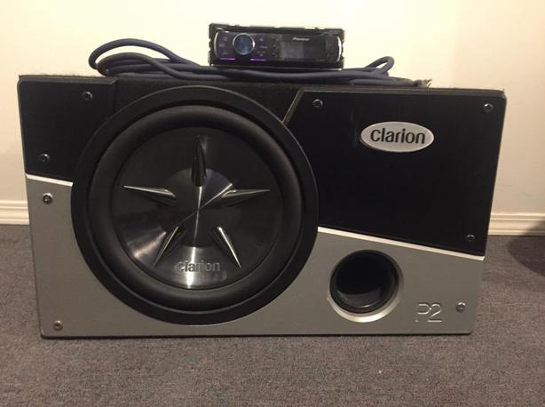 """Clarion 12"""" subwoofeer, amp, and box"""