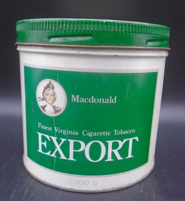 VINTAGE 1980's MACDONALD EXPORT CIGARETTE TOBACCO (1/2 LB.) TIN