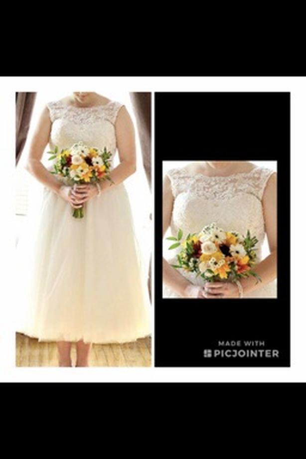 Stunning tea length wedding gown