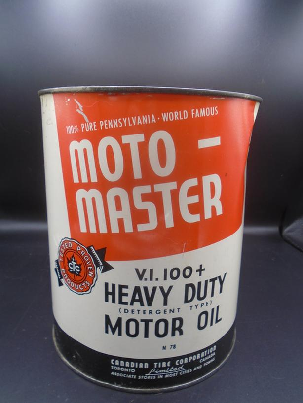 VINTAGE 1940's CANADIAN TIRE MOTO-MASTER MOTOR OIL GALLON CAN