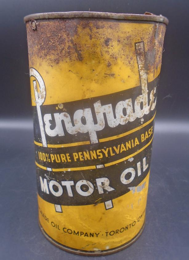 RARE 1930's VINTAGE PENGRADE MOTOR OIL IMPERIAL QUART CAN