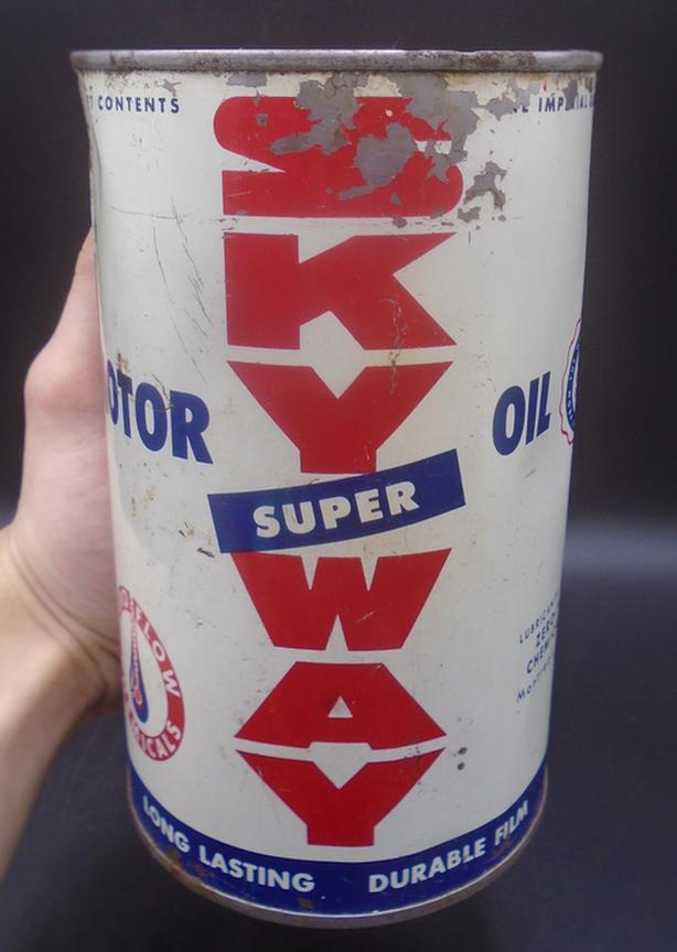 RARE 1950's VINTAGE SKY WAY SUPER MOTOR OIL IMPERIAL QUART CAN