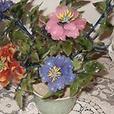 Chinese Jade & Stone Flower Cloisonne Basket pot