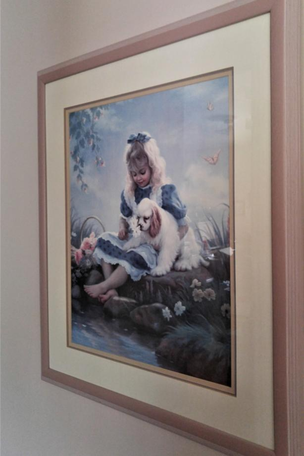 LARGE PRINT OF LITTLE GIRL & DOG IN BEAUTIFUL WOODEN FRAME