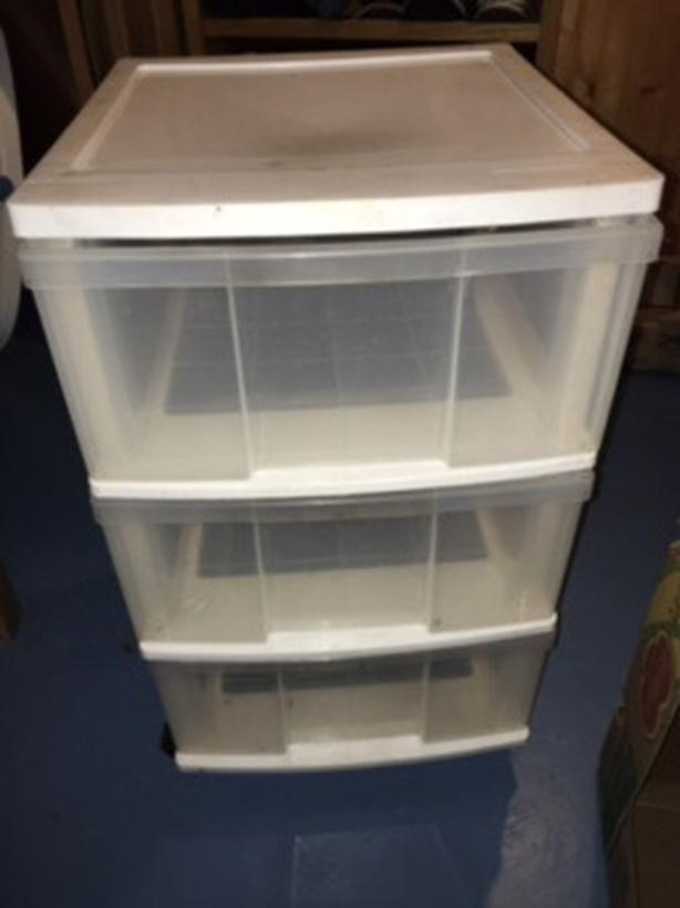 3 drawer storage cart on wheels.