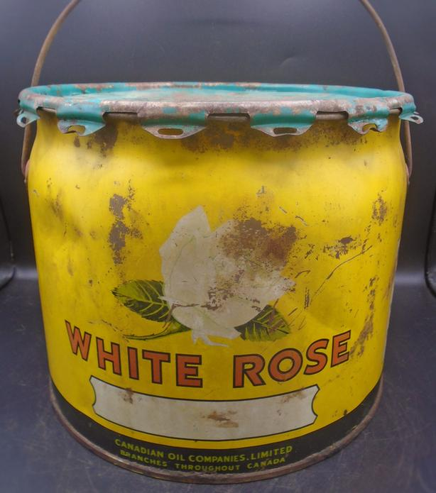 SCARCE 1940's VINTAGE WHITE ROSE GREASE (25 LB.) CAN