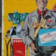VINTAGE 1980's ESSO GASOLINE FORD CARS GAS PUMPS PLASTIC SIGN