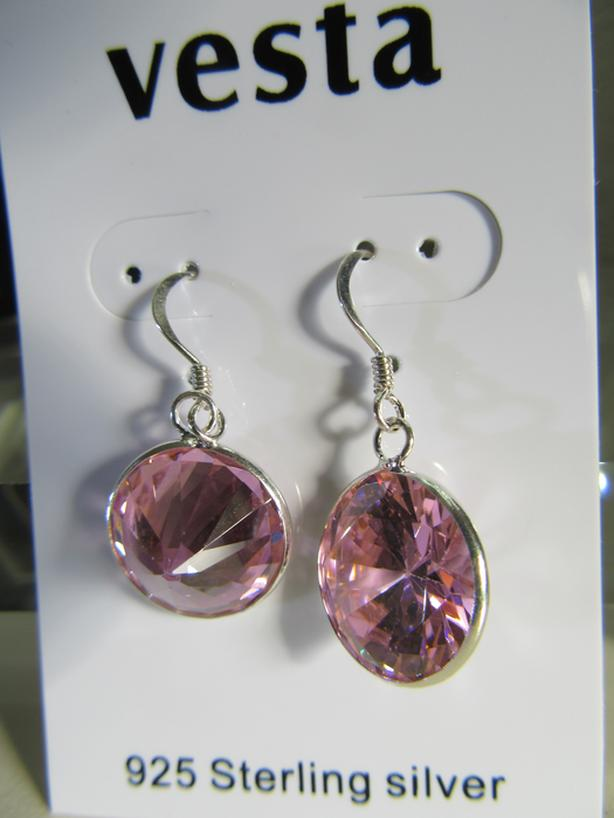 Earrings Cubic Zirconia Pink