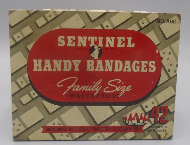 VINTAGE 1950's SENTINEL HANDY BANDAGES FLAT-FIFTIES STYLE TIN