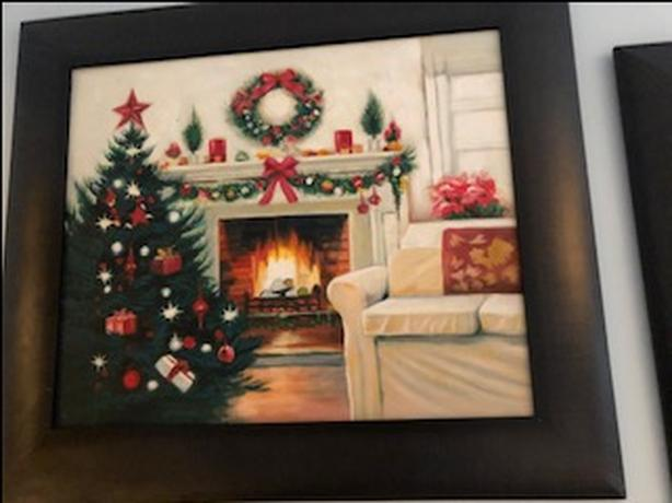 Framed Christmas paintings