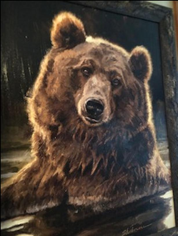 Oil on Canvas large bear painting