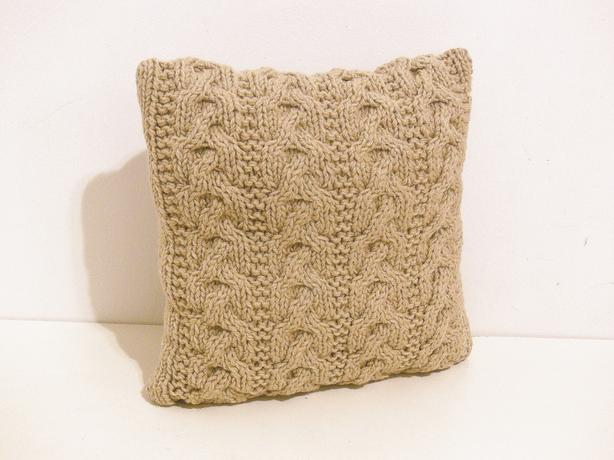 "Toss Cushion with Hand Knitted Cushion Cover - 14x14"" - Taupe"