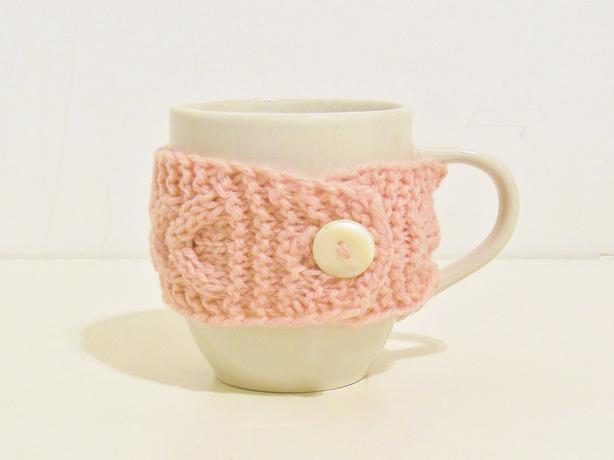 Hand Knitted Coffee Mug Cup Cozy Warmer - Soft Pink