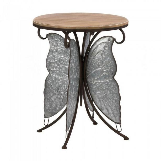Accent End Table Plant Stand Sculpted Metal Butterfly Base & Wood Top