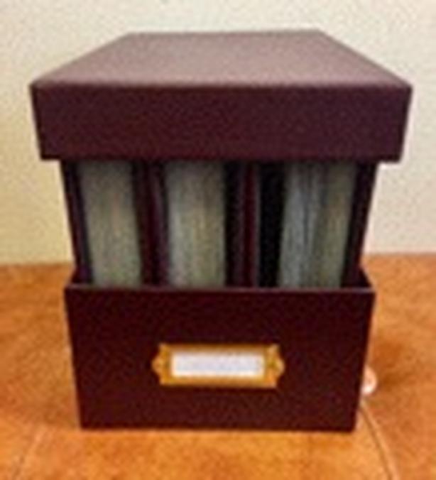 Maroon Bound Leather Photo Album x 3 w/Photo Box