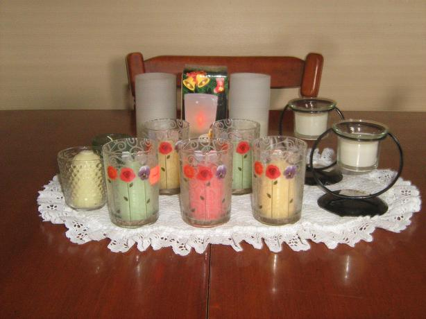 ASSORTMENT  OF  CANDLES  HOLDERS  WITH  CANDLES  NEVER  USED