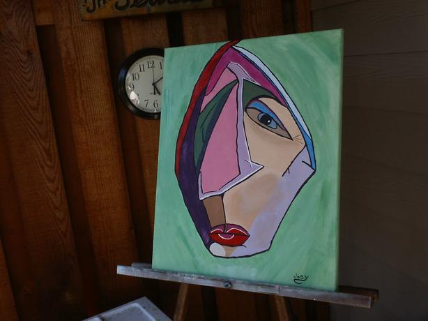 """""""Rouge  lèvres"""".  Acrylic.  16 x 19.75."""