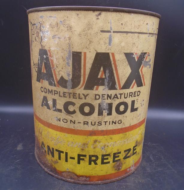 VINTAGE 1940's AJAX ANTI-FREEZE U.S. GALLON CAN - PHILADELPHIA