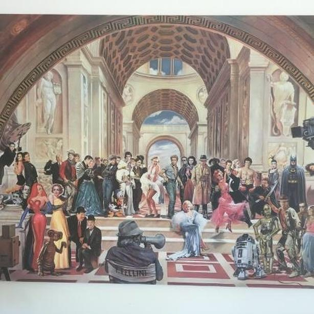 renato casaro art picture print poster 100 years of film movie stars gathered