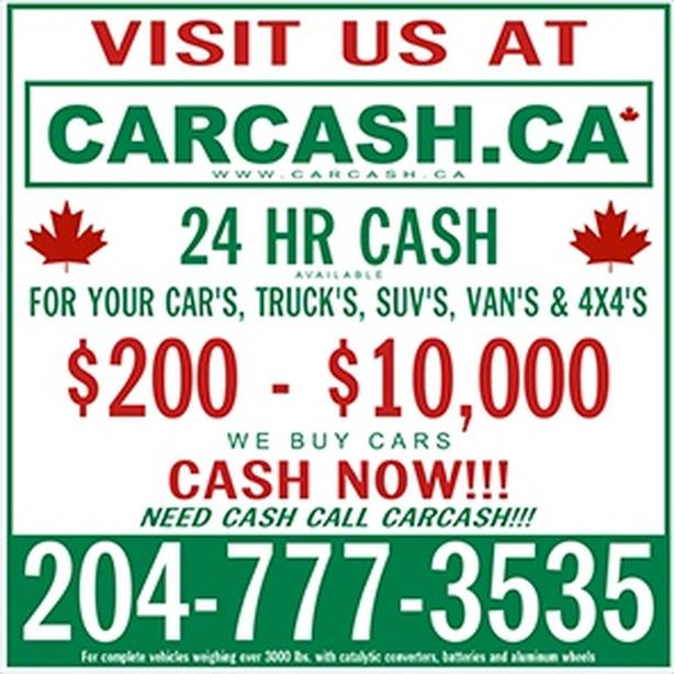 WANTED: CarCash.ca $200-$10,000 CASH now for SCRAP USED JUNK OLD CARS