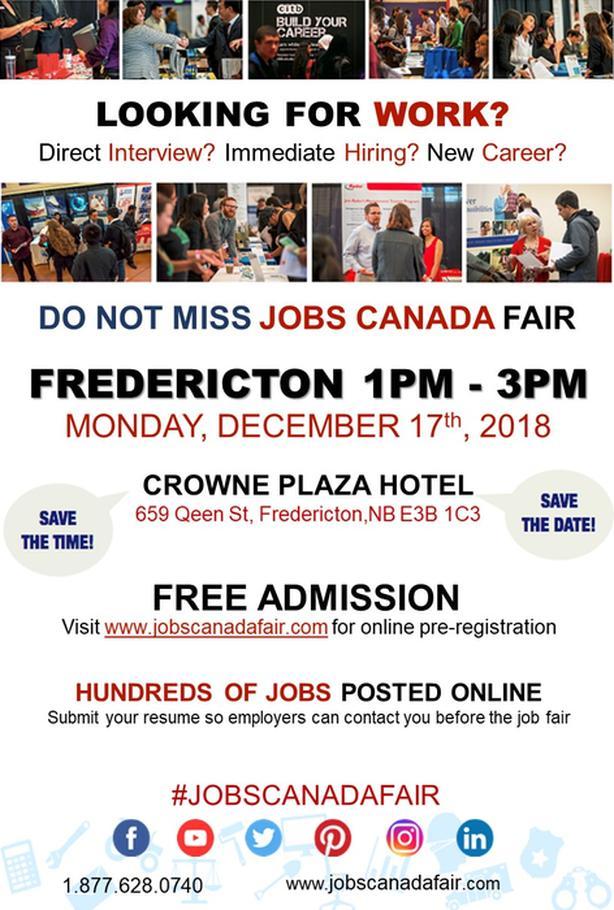 FREE: Fredericton Job Fair – December 17th, 2018